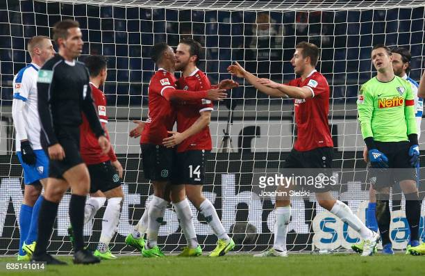 Noah Joel Sarenren Bazee Martin Harnik and Artur Sobiech of Hannover celebration the Goal 11 during the Second Bundesliga match between Hannover 96...