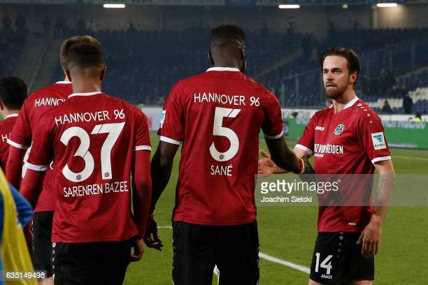 Noah Joel Sarenren Bazee Salif Sane and Martin Harnik of Hannover celebration the Goal 21 during the Second Bundesliga match between Hannover 96 and...