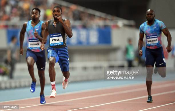Noah Lyles of the US competes he wins in the mens 200 meter during the Shanghai Diamond League athletics competition in Shanghai May 13 2017 / AFP...