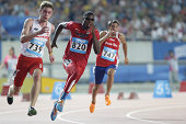 Noah Lyles of United States of America competes in the men's 200m qualifying round on day six of Nanjing 2014 Summer Youth Olympic Games at Olympic...
