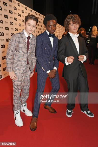 Noah Schnapp Caleb McLaughlin and Gaten Matarazzo attend the GQ Men Of The Year Awards at the Tate Modern on September 5 2017 in London England