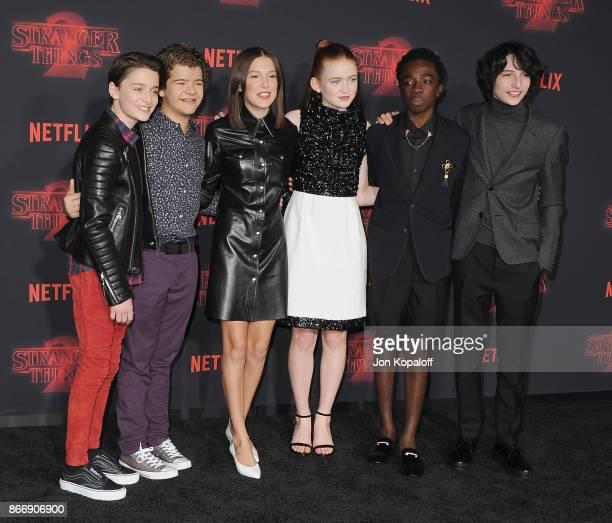 Noah Schnapp Gaten Matarazzo Millie Bobby Brown Sadie Sink Caleb McLaughlin and Finn Wolfhard arrive at the premiere of Netflix's 'Stranger Things'...