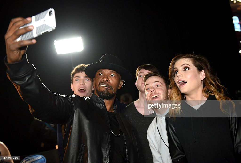 Noah Sierota of Echosmith, singer/actor Jamie Foxx and Graham Sierota Jamie Sierota and Sydney Sierota of Echosmith backstage at FOX's 'American Idol XIV' Finale on May 13, 2015 at the Dolby Theater in Hollywood, California.