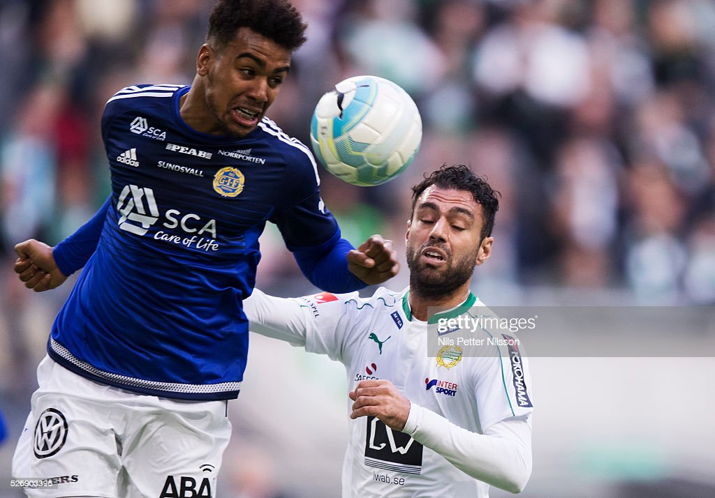 Noah Sonko Sundberg of GIF Sundsvall and Imad Khalili of Hammarby IF competes for the ball during the Allsvenskan match between Hammarby IF and GIF Sundsvall at Tele2 Arena on May 1, 2016 in Stockholm, Sweden.