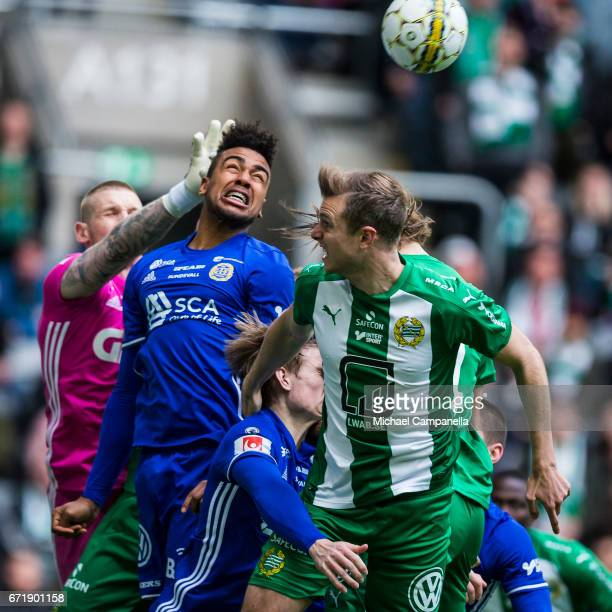 Noah Sonko Sundberg of GIF Sundsvall and Richard Magyar of Hammarby IF in a an arial duel during an Allsvenskan match between Hammarby IF and GIF...