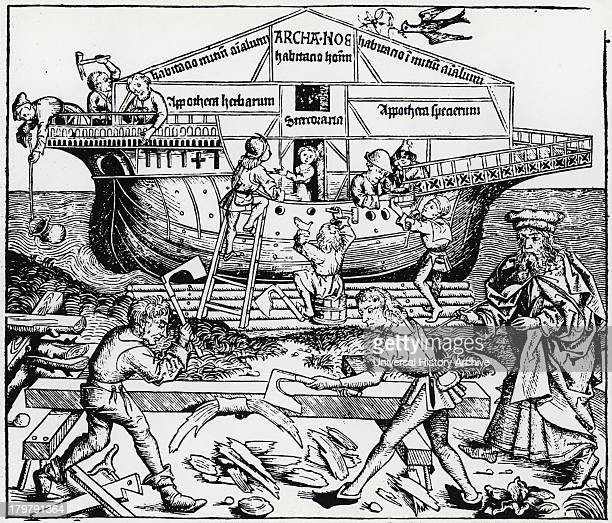 Noah supervising the building of the Ark Woodcut from ''Liber chronicarum mundi'' 1493