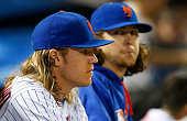 Noah Syndergaard and Jacob deGrom of the New York Mets look on against the St Louis Cardinals in game two of a doubleheader at Citi Field on July 26...