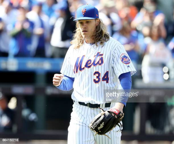 Noah Syndergaard of the New York Mets clebrates after the final out of the fourth inning against the Atlanta Braves during Opening Day on April 3...