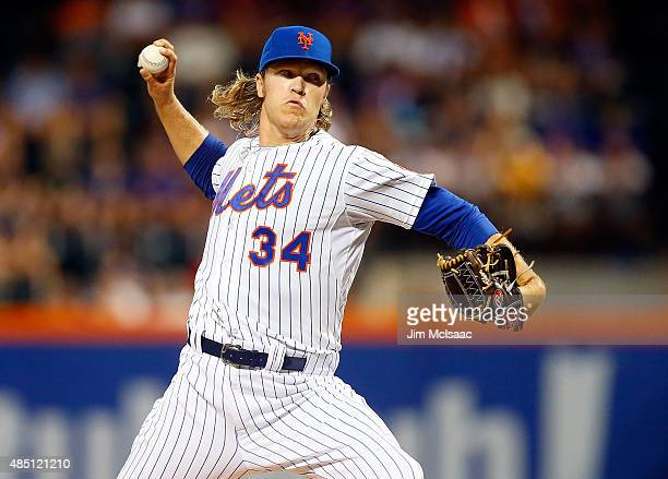 Noah Syndergaard of the New York Mets in action against the Washington Nationals at Citi Field on August 2 2015 in the Flushing neighborhood of the...