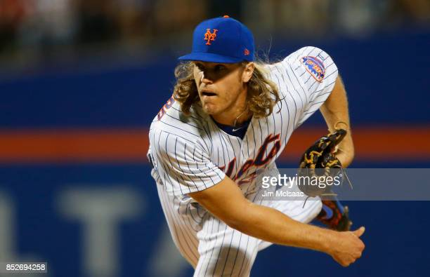 Noah Syndergaard of the New York Mets in action against the Washington Nationals at Citi Field on September 23 2017 in the Flushing neighborhood of...