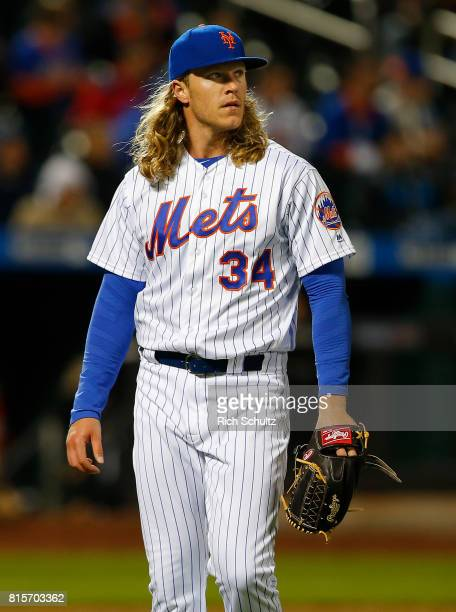 Noah Syndergaard of the New York Mets in action against the Miami Marlins during a game at Citi Field on April 9 2017 in New York City