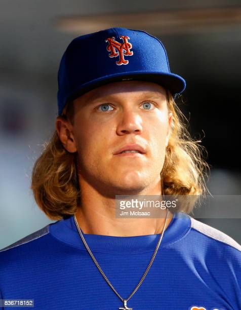 Noah Syndergaard of the New York Mets in action against the Miami Marlins at Citi Field on August 18 2017 in the Flushing neighborhood of the Queens...