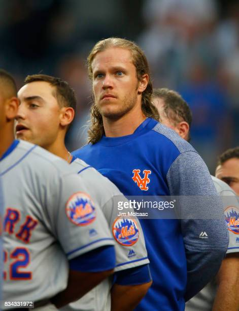 Noah Syndergaard of the New York Mets in action against the New York Yankees at Yankee Stadium on August 15 2017 in the Bronx borough of New York...