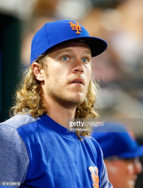 Noah Syndergaard of the New York Mets looks on against the St Louis Cardinals at Citi Field on July 17 2017 in the Flushing neighborhood of the...