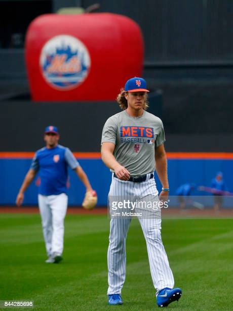 Noah Syndergaard of the New York Mets looks on before a game against the Philadelphia Phillies at Citi Field on September 6 2017 in the Flushing...