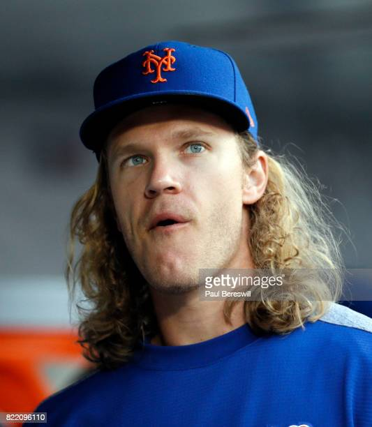 Noah Syndergaard of the New York Mets looks over in the dugout in an interleague MLB baseball game against the Oakland Athletics on July 21 2017 at...