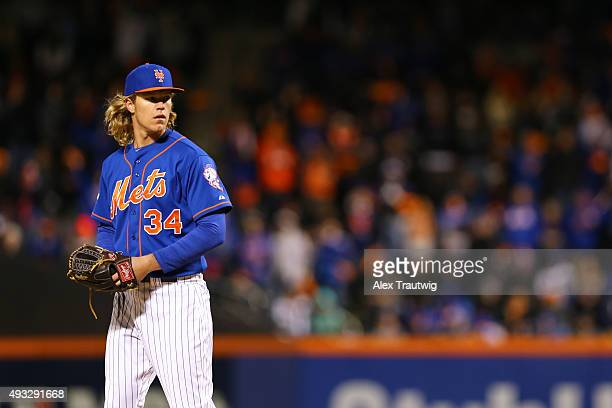 Noah Syndergaard of the New York Mets pitches during Game 2 of the NLCS against the Chicago Cubs at Citi Field on Sunday October 18 2015 in the...