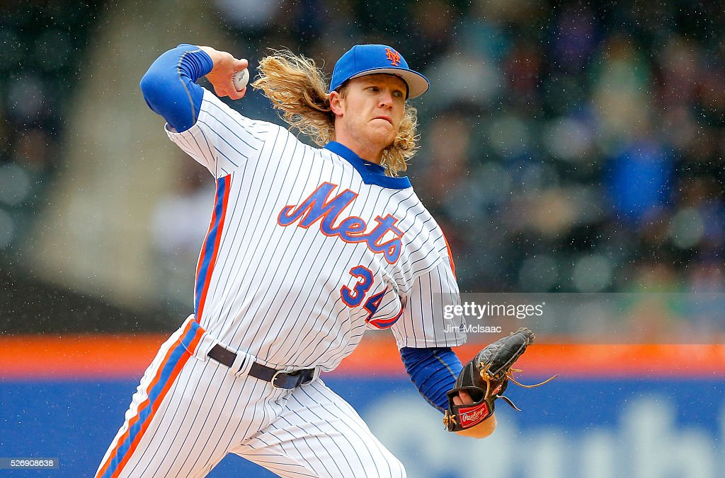 <a gi-track='captionPersonalityLinkClicked' href=/galleries/search?phrase=Noah+Syndergaard&family=editorial&specificpeople=10624844 ng-click='$event.stopPropagation()'>Noah Syndergaard</a> #34 of the New York Mets pitches in the first inning against the San Francisco Giants at Citi Field on May 1, 2016 in the Flushing neighborhood of the Queens borough of New York City.