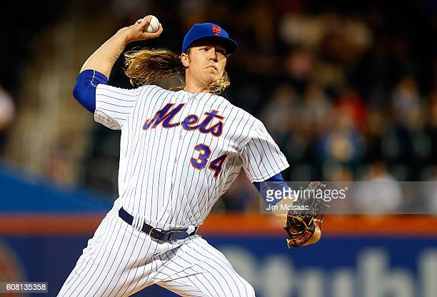 Noah Syndergaard of the New York Mets pitches in the first inning against the Atlanta Braves at Citi Field on September 19 2016 in the Flushing...