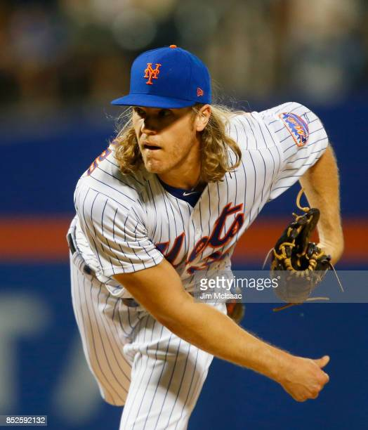 Noah Syndergaard of the New York Mets pitches in the first inning against the Washington Nationals at Citi Field on September 23 2017 in the Flushing...