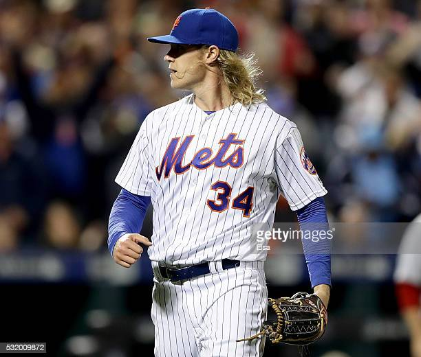 Noah Syndergaard of the New York Mets reacts after striking out Bryce Harper of the Washington Nationals in the sixth inning at Citi Field on May 17...