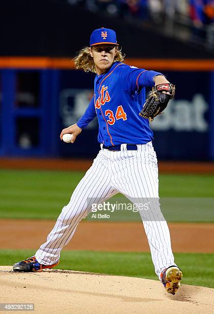Noah Syndergaard of the New York Mets throws a pitch against the Chicago Cubs during game two of the 2015 MLB National League Championship Series at...