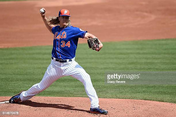 Noah Syndergaard of the New York Mets throws a pitch during the first inning of a spring training game against the St Louis Cardinals at Tradition...