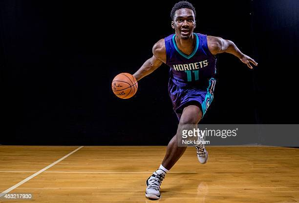 Noah Vonleh of the Charlotte Hornets poses for a portrait during the 2014 NBA rookie photo shoot at MSG Training Center on August 3 2014 in Tarrytown...