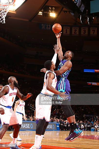 Noah Vonleh of the Charlotte Hornets shoots the ball against the New York Knicks during the game on January 10 2015 at Madison Square Garden in New...