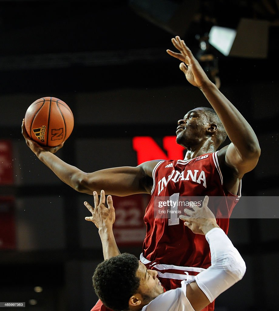 <a gi-track='captionPersonalityLinkClicked' href=/galleries/search?phrase=Noah+Vonleh&family=editorial&specificpeople=9612442 ng-click='$event.stopPropagation()'>Noah Vonleh</a> #1 of the Indiana Hoosiers drives to the basket over Shavon Shields #31 of the Nebraska Cornhuskers during their game at Pinnacle Bank Arena on January 30, 2014 in Lincoln, Nebraska.