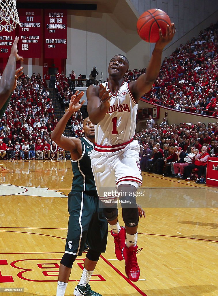 <a gi-track='captionPersonalityLinkClicked' href=/galleries/search?phrase=Noah+Vonleh&family=editorial&specificpeople=9612442 ng-click='$event.stopPropagation()'>Noah Vonleh</a> #1 of the Indiana Hoosiers shoots the ball against the Michigan State Spartans at Assembly Hall on January 4, 2014 in Bloomington, Indiana. Michigan State defeated Indiana 73-56.