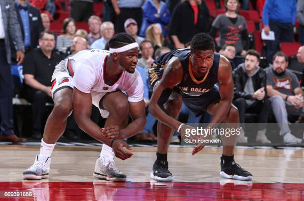 Noah Vonleh of the Portland Trail Blazers and Solomon Hill of the New Orleans Pelicans get in position for a rebound on April 12 2017 at the Moda...