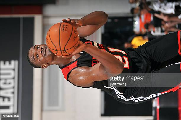 Noah Vonleh of the Portland Trail Blazers attempts a free throw against the San Antonio Spurs on July 14 2015 at The Cox Pavilion in Las Vegas Nevada...