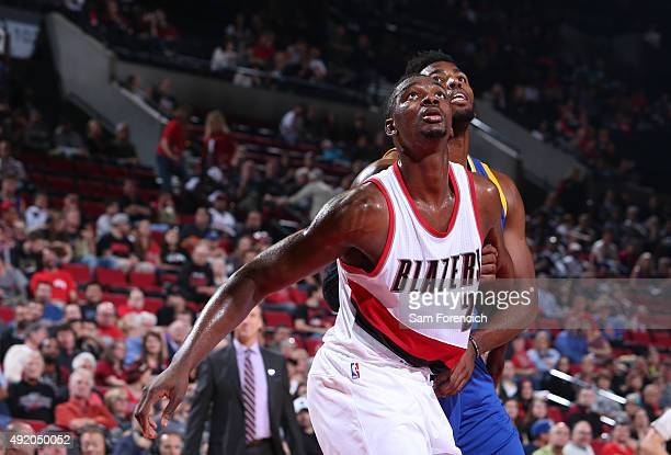 Noah Vonleh of the Portland Trail Blazers boxes out against the Golden State Warriors during a preseason game on October 8 2015 at the Moda Center in...