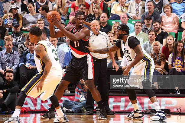 Noah Vonleh of the Portland Trail Blazers defends the ball against the Utah Jazz during a preseason game at EnergySolutions Arena on October 12 2015...