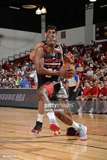 Noah Vonleh of the Portland Trail Blazers drives to the basket against the Dallas Mavericks during a game on July 12 2015 at The Cox Pavilion in Las...