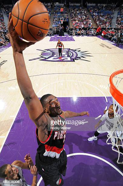 Noah Vonleh of the Portland Trail Blazers dunks against the Sacramento Kings on October 10 2015 at Sleep Train Arena in Sacramento California NOTE TO...