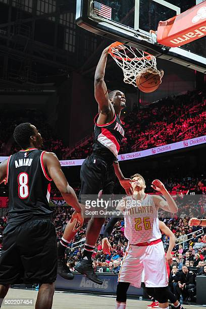 Noah Vonleh of the Portland Trail Blazers dunks the ball during the game against the Atlanta Hawks on December 21 2015 at Philips Arena in Atlanta...