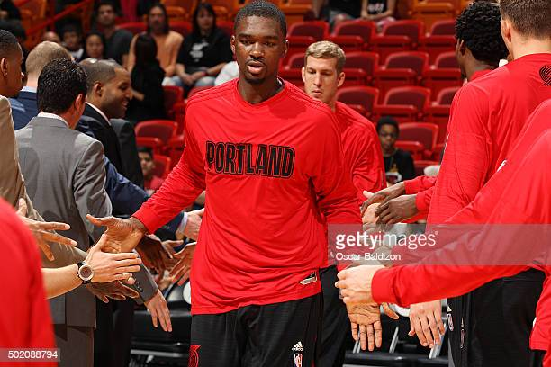 Noah Vonleh of the Portland Trail Blazers gets introduced before the game against the Miami Heat on December 20 2015 at American Airlines Arena in...