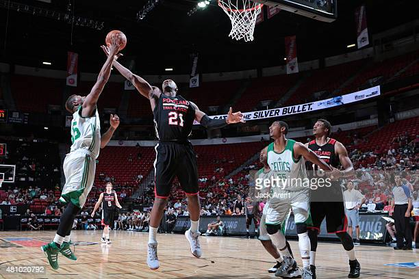 Noah Vonleh of the Portland Trail Blazers goes for the ball against the Boston Celtics during the game on July 16 2015 at Thomas And Mack Center Las...