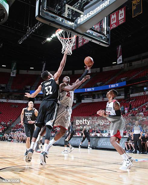 Noah Vonleh of the Portland Trail Blazers goes up for a shot against the Minnesota Timberwolves on July 15 2015 at the Thomas Mack Center in Las...