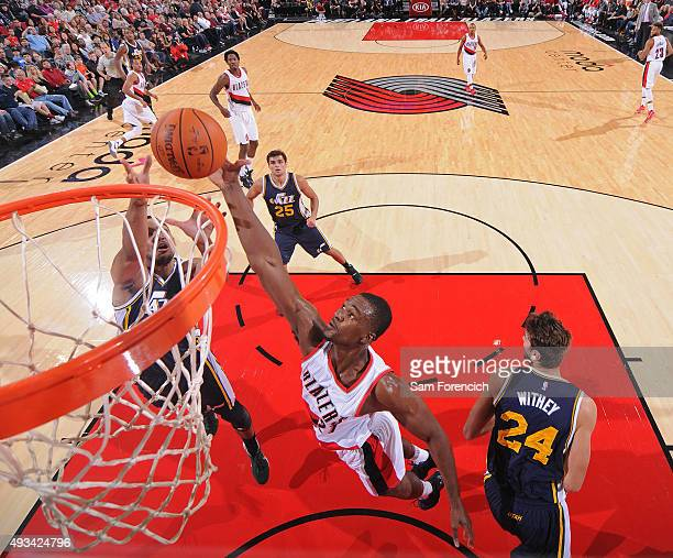 Noah Vonleh of the Portland Trail Blazers grabs a rebound against the Utah Jazz during a preseason game on October 18 2015 at the Moda Center Arena...