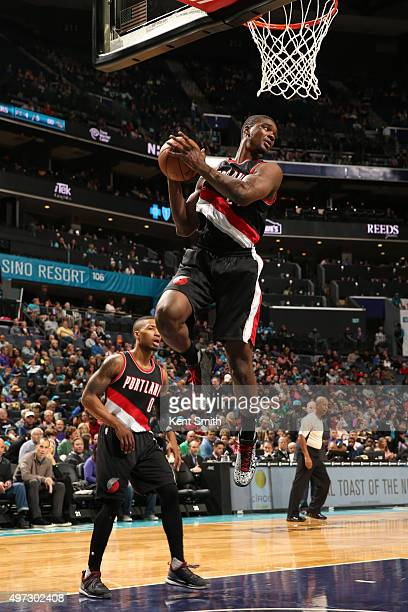 Noah Vonleh of the Portland Trail Blazers grabs the rebound against the Charlotte Hornets on November 15 2015 at Time Warner Cable Arena in Charlotte...