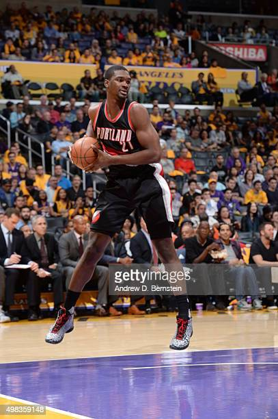 Noah Vonleh of the Portland Trail Blazers handles the ball against the Los Angeles Lakers on November 22 2015 at STAPLES Center in Los Angeles...