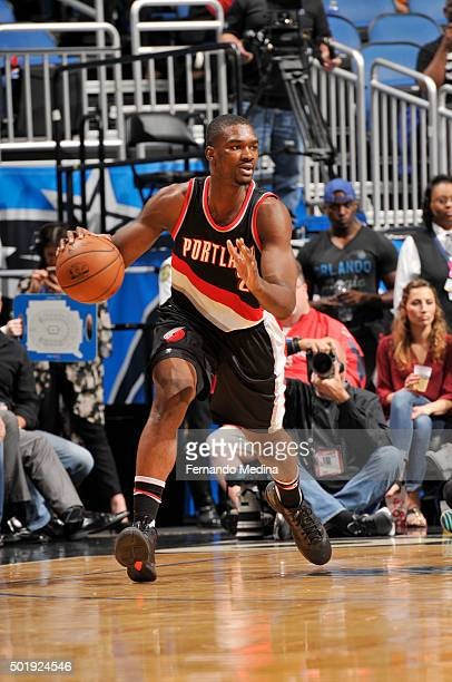 Noah Vonleh of the Portland Trail Blazers handles the ball against the Orlando Magic on December 18 2015 at Amway Center in Orlando Florida NOTE TO...