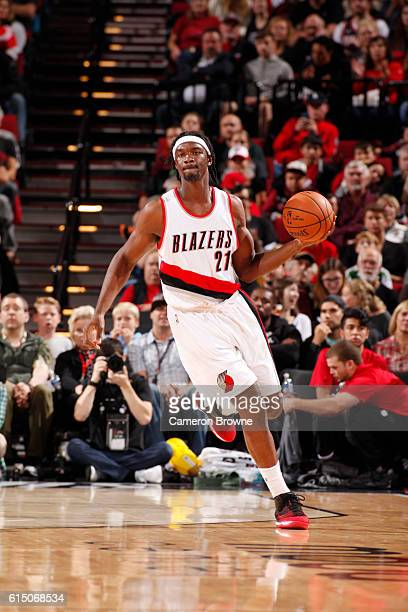 Noah Vonleh of the Portland Trail Blazers handles the ball against the Denver Nuggets on October 16 2016 at the Moda Center in Portland Oregon NOTE...