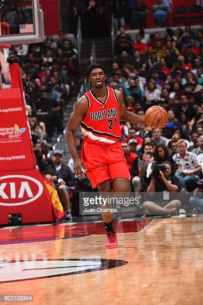 Noah Vonleh of the Portland Trail Blazers handles the ball against the Los Angeles Clippers on November 9 2016 at STAPLES Center in Los Angeles...
