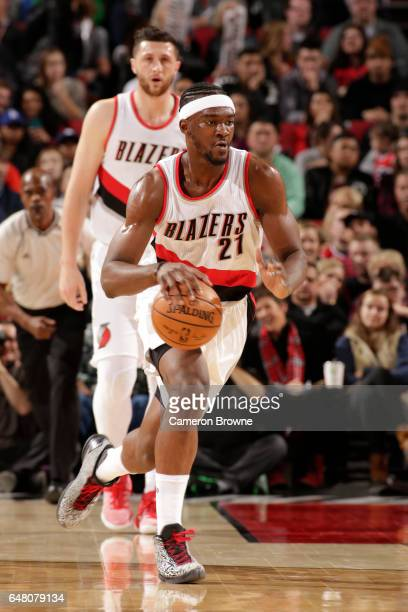 Noah Vonleh of the Portland Trail Blazers handles the ball against the Brooklyn Nets on March 4 2017 at the Moda Center in Portland Oregon NOTE TO...