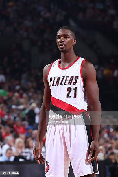 Noah Vonleh of the Portland Trail Blazers looks on against the Golden State Warriors during a preseason game on October 8 2015 at the Moda Center in...