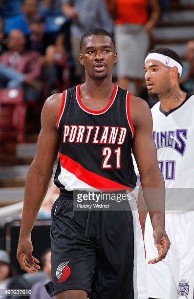 Noah Vonleh of the Portland Trail Blazers looks on during the game against the Sacramento Kings on October 10 2015 at Sleep Train Arena in Sacramento...